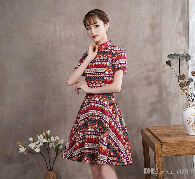 c7145422790a New Improved 2018 Summer Daily Self Cultivation Temperament Women'S Retro  Print Classic Nostalgic Shame Girl Cheongsam Dress Black Women Clothes  Clothing ...