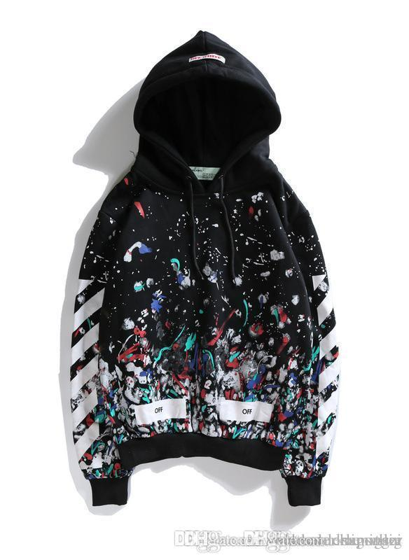 b8683993bbd7 2019 Cute Starry Sky Colorful Graffiti Hoodies For Mens And Womens Autumn  Off Fashion White Striped Hoodie For Couples Black Pullover Hoodies 001  From ...