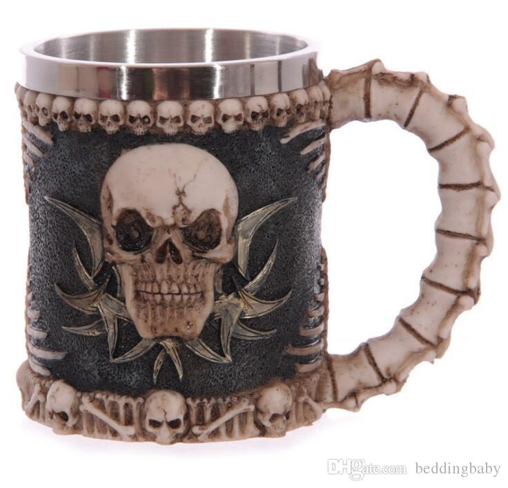 Stainless Steel Goblet 3D Dragon Skull Skeleton Claw Wine Glasses Creative Beer Steins Halloween Party Drinking Glass Cup 10PICS