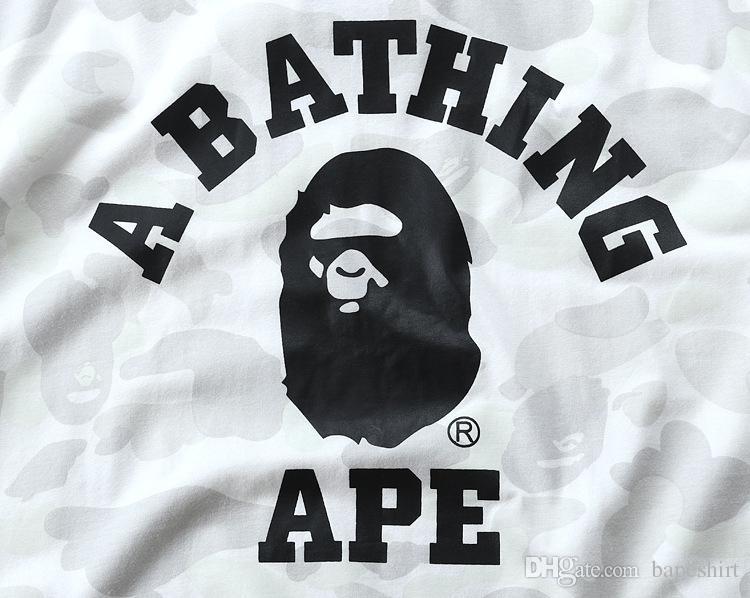 Camo Summer Hot Black&White Ape Men&women Sportwear T-shirts Pullover Cotton T-shirt Crewneck Hip Hop T-shirts for Lovers