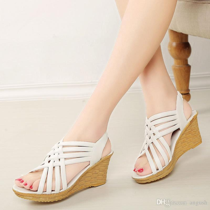 23509fc0f9887 ANGUSH Summer Fashion Women Casual Wedge Sandals High Heels Platforms Fish  Mouth Straw Weave Female Shoes Sweet Comfortable Sandals Silver Sandals  Gold ...