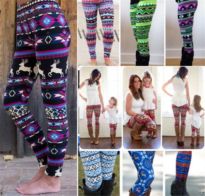 fb85895713802 Christmas Women Leggings Girls Stretchy Bodycon Pant Family Clothes ...