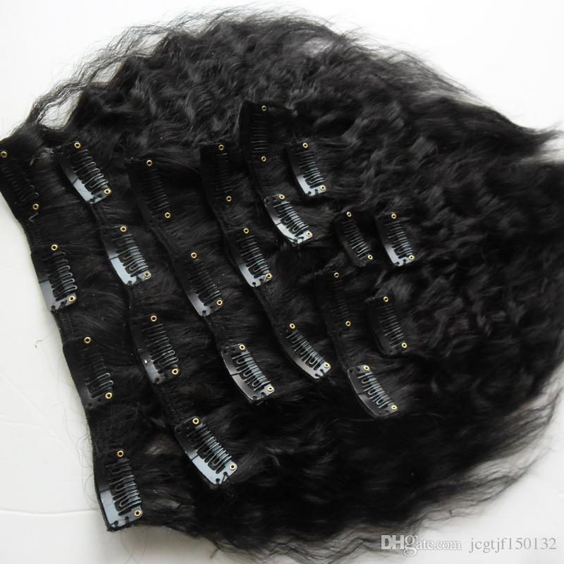 Clip recto rizado en las extensiones del pelo clip grueso rizado natural ins 10 pedazos y 120g / Set color natural