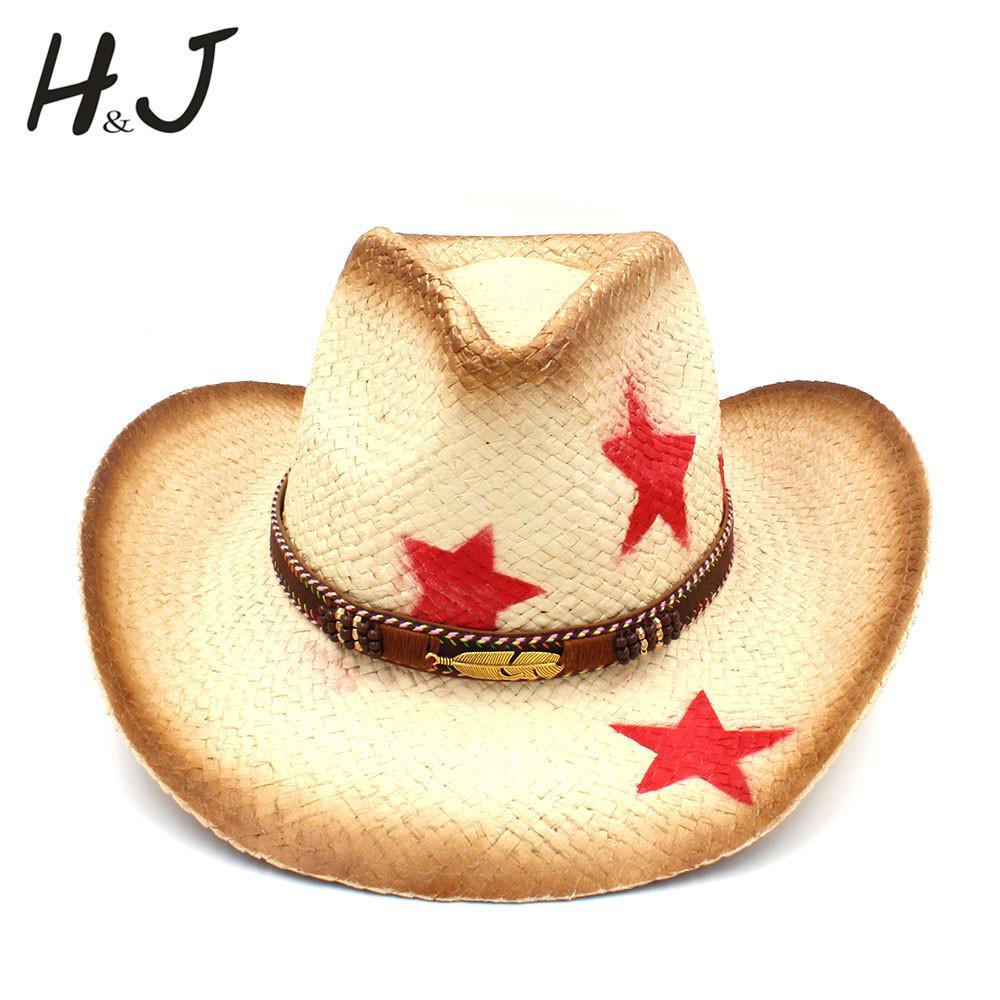 Compre Mujeres Hombres Paja Sombrero De Vaquero Occidental Con Hojas Punk  Band Star Lady Dad Sombrero Hombre Cowgirl Jazz Caps Tamaño 58CM A  30.06  Del ... f111cf20239