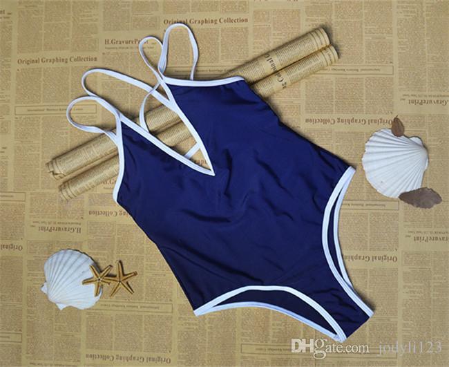 2018 Summer Beach Wear Bikinis Black Navy Blue High Waisted Crossed Stripes Womens Monokini One Piece Bathing Suits