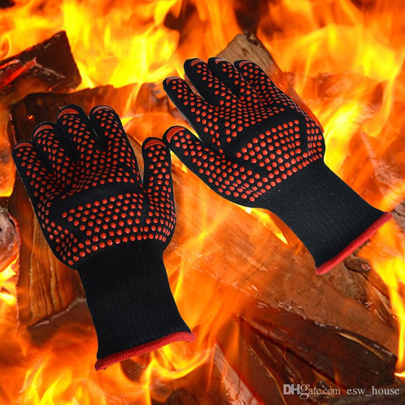 new arrive Oven Mitts Gloves high Centigrade Instant Extreme Heat Resistant BBQ Gloves Lining Cotton Cooking Baking Grilling Oven Mitts