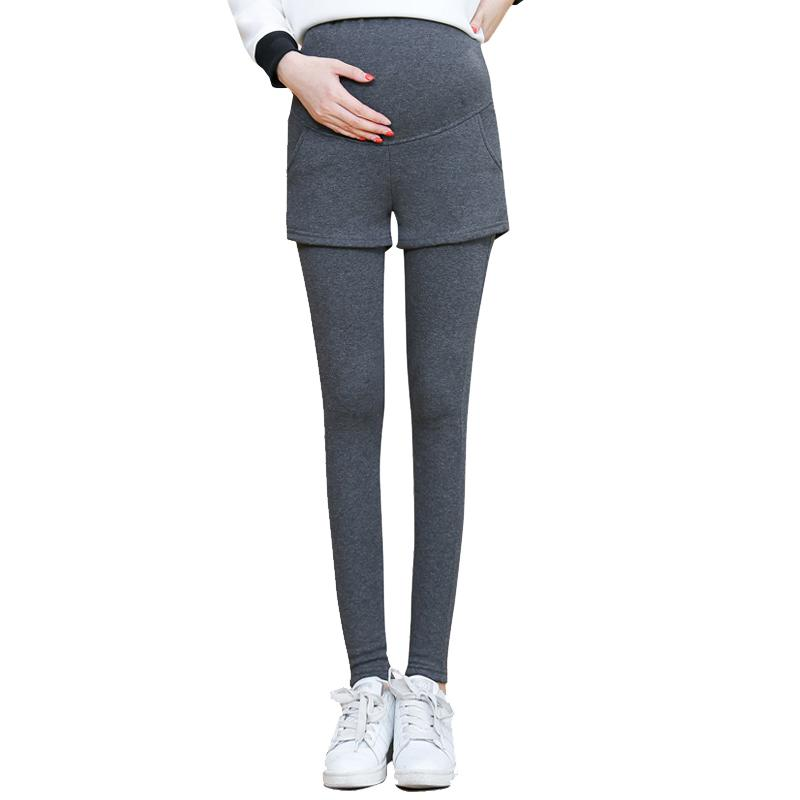 2018 summer plus velvet thickening maternity leggings pants clothes for pregnant women warm high waist suspender pregnancy trous