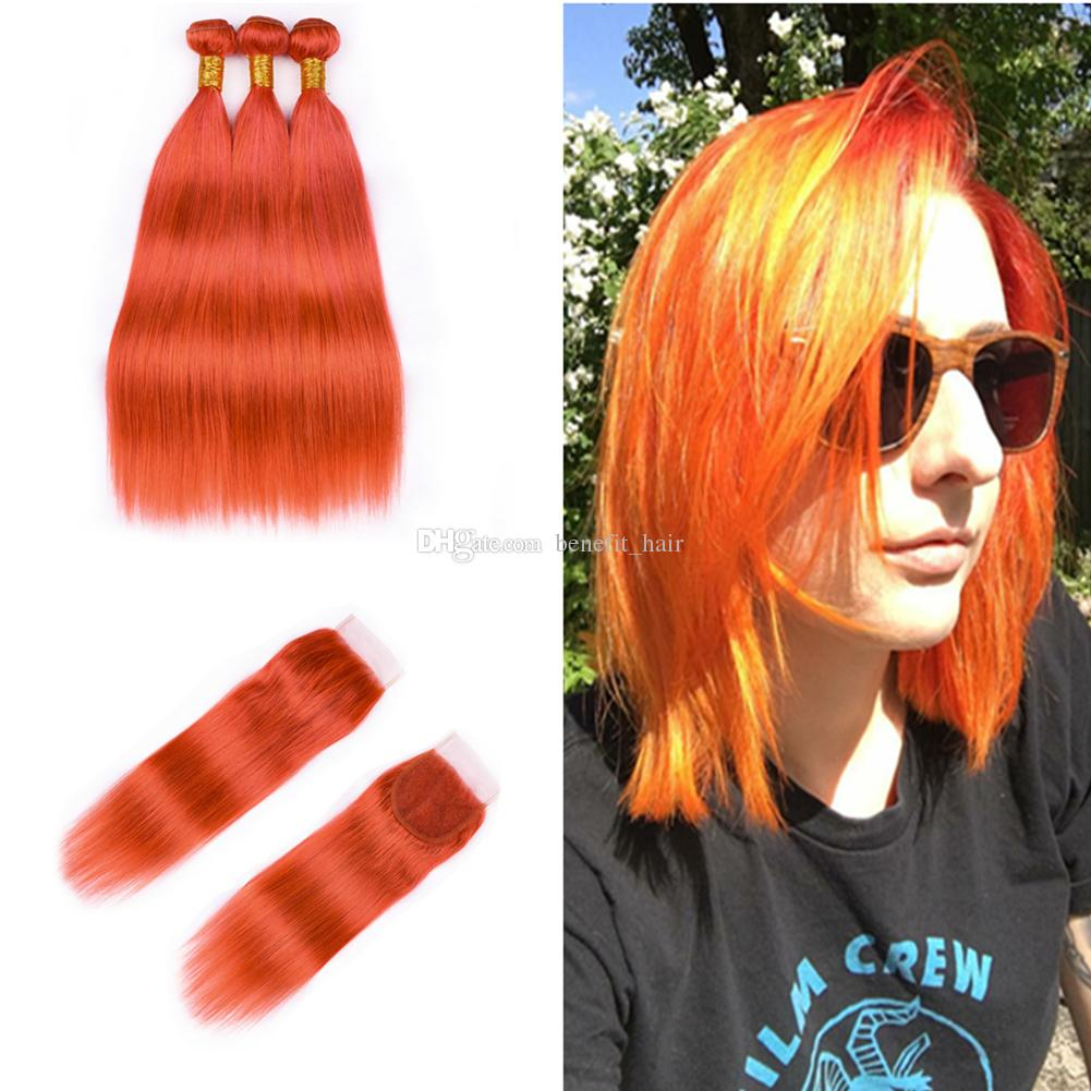 Popular Color Orange Human Hair Weft Weaves With Closure 8a Virgin
