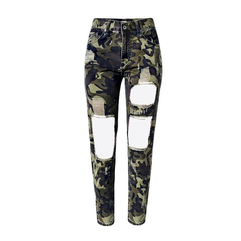 ee638c3925 Compre Camuflagem Calças De Brim Mulher Jeans Rasgado Calça Jeans Para As  Mulheres Ocasionais Lápis Exército Skinny Calças 2017 Moda Outono De  Stripe, ...