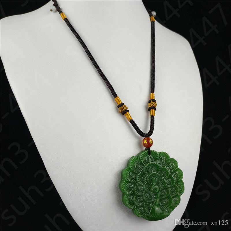 Chinese Green Jade Peacock Pendant Necklace Charm Jewellery Fashion Accessories