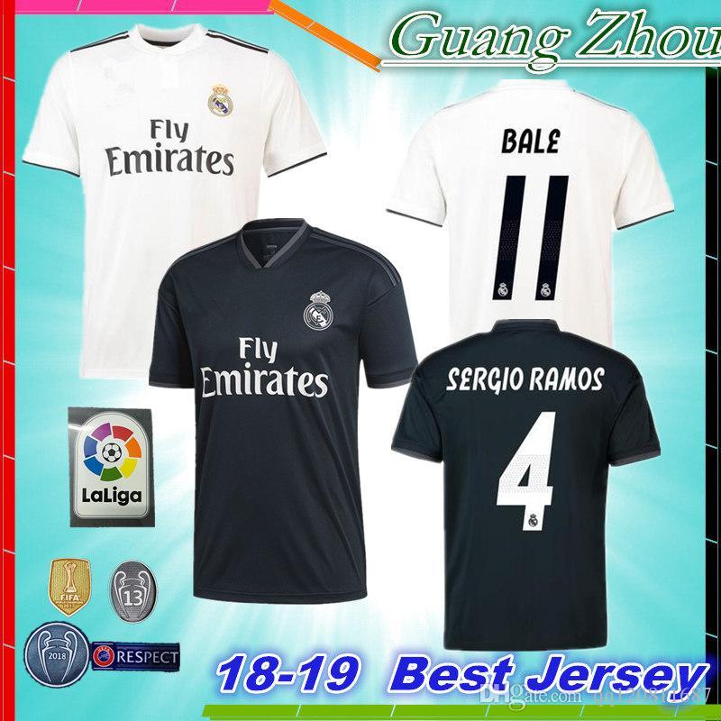 2019 2018 New Real Madrid Soccer Jersey CR7 Shirt Ronaldo Kroos Bale  BENZEMA MODRIC 2018 2019 HOME AWAY ASENSIO ISCO SERGiO RAMOS Football Shirt  From ... d660cbcb9