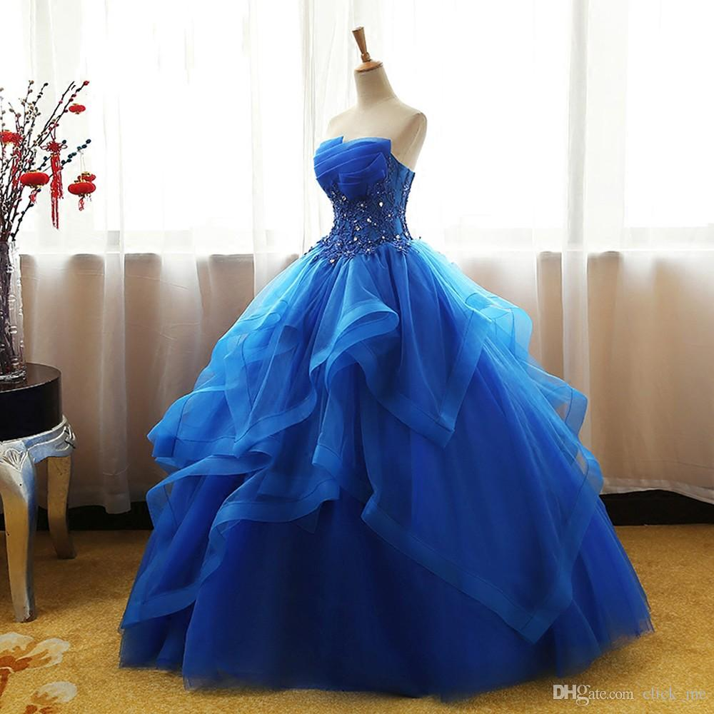 a85ad2f7fe64 Blue Quinceanera Dresses Ball Gown Corset Crystals Beads Ruffles Tulle Lace  Up Back Girls Pageant Gowns Strapless Cheap Prom Dress Semi Dresses  Vestidos De ...