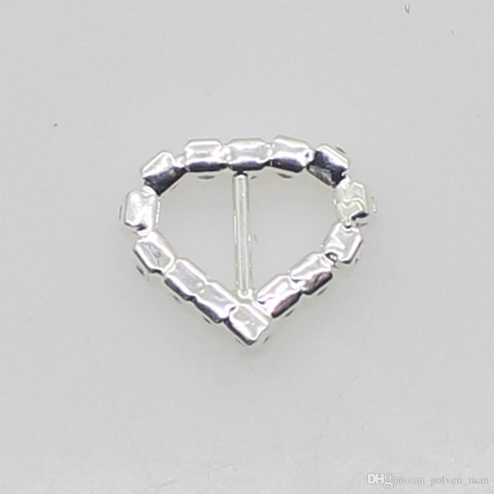 Hot Fashion 17mm Heart Buckle Silver Full of crystal Wedding Decoraion Invitation Ribbon Jewelry Accessory wholesale