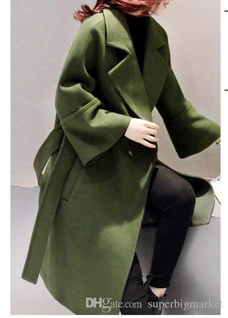 Армия Зеленый Шерстяное Пальто Женщины 2017 Длинные Парки Манто Femme Элегантный Зимнее Пальто Женщины Flare Рукавом Пояс Шерстяная Куртка Женский C3617