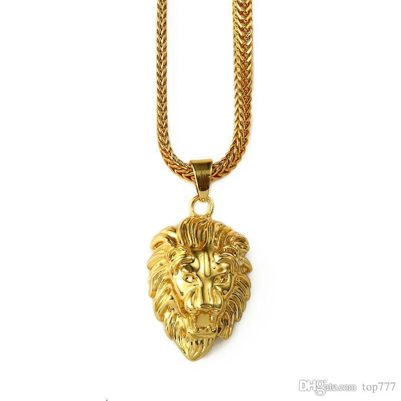 2018 mens gold lion head charm 295inch franco chain hip hop golden 2018 mens gold lion head charm 295inch franco chain hip hop golden crown king lion pendant necklace men women hip hop necklace necklace pandent necklace aloadofball Image collections