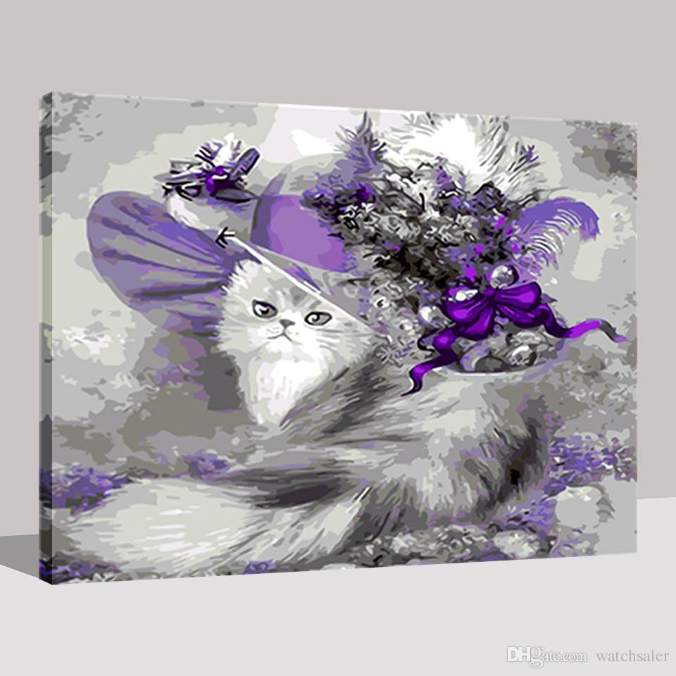 DIY Oil Painting By Numbers Drawing Cartoon Floral Hat Cat Pictures On Canvas Acrylic Coloring Hand Paint Home Decor Wall Art