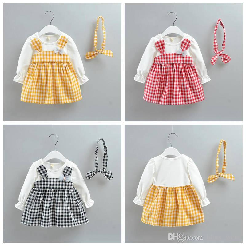 a57a1ac4d8e20 Girls Plaid Dress Kids Long Sleeve Dresses Toddler Cute Princess Dress  Cotton Casual Skirts With Headband Baby Girls Designer Clothes YL723