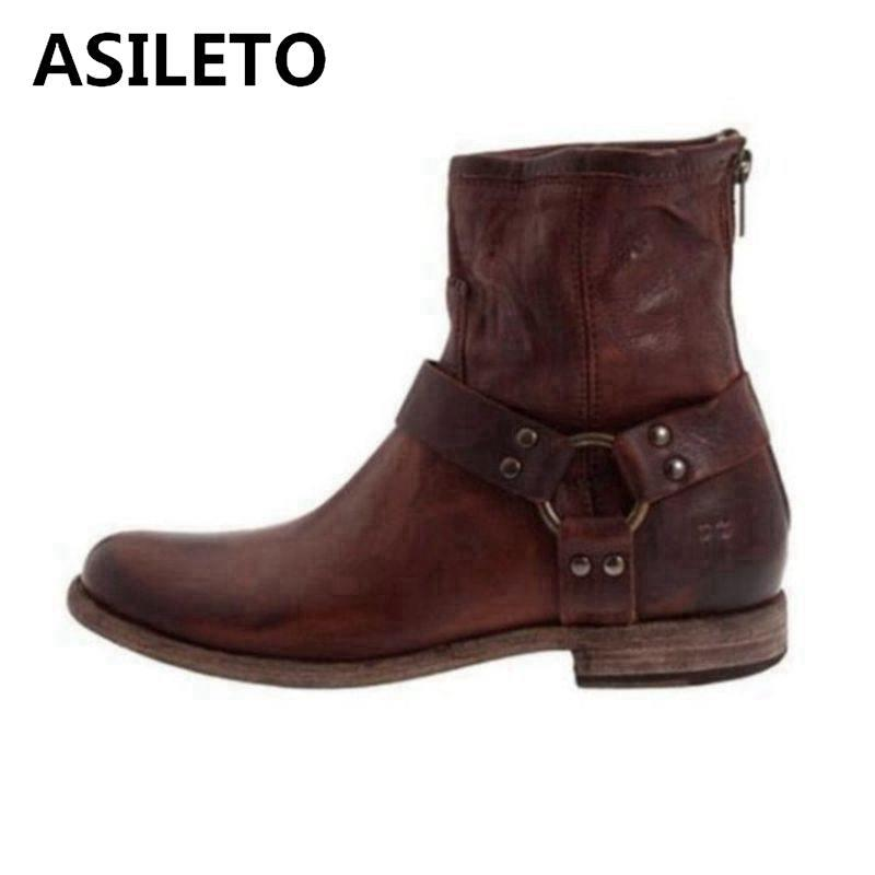 7bede76fc12 ASILETO Buckle Autumn Retro Western Boots Shoes women Square Heels Belt  Ankle Boots women Motorcycle Cowboy booties B1112