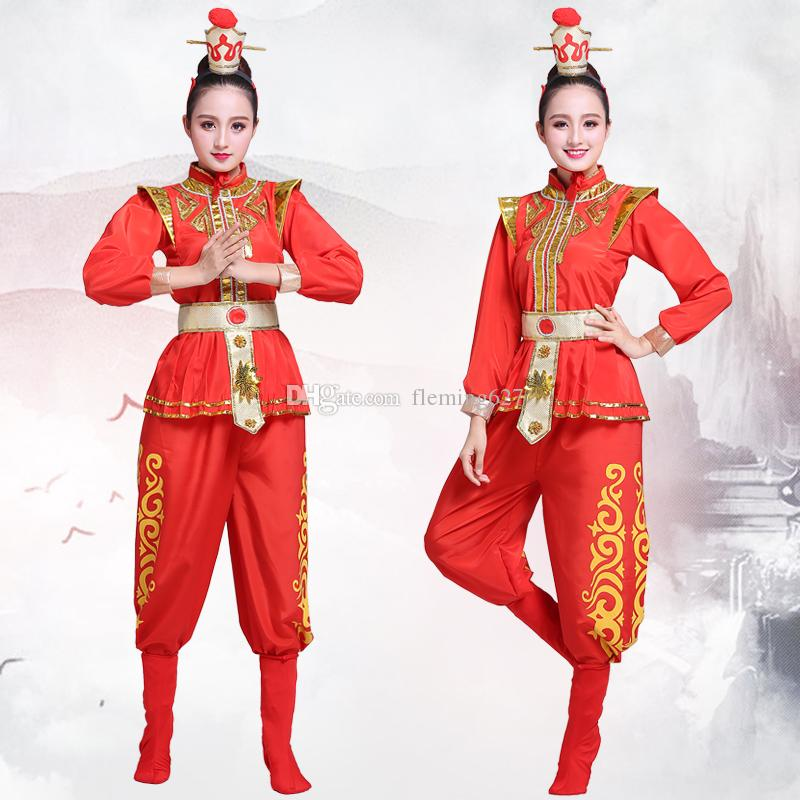 e7baa4b6a 2019 Chinese Folk Dance Red Woman Yangko Dance Clothing Ancient Hanfu  Costumes Oriental Traditional Opera Stage Performance Wear From Fleming627,  ...