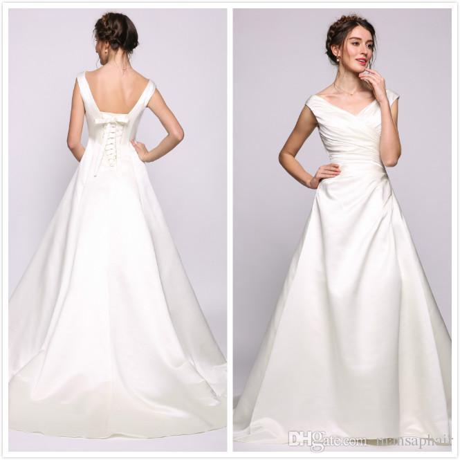 Плюс размер свободного покроя пляж свадебные платья дешевые линии пятно свадебное платье для гостей свадебные платья длина пола кружева up платье невесты долго