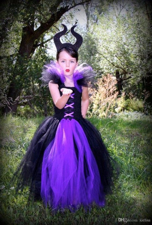 2018 Maleficent Evil Queen Girl Tutu Dress with Horns Halloween Photo Prop Purim Kids Baby Fancy Costume Handmade Dress