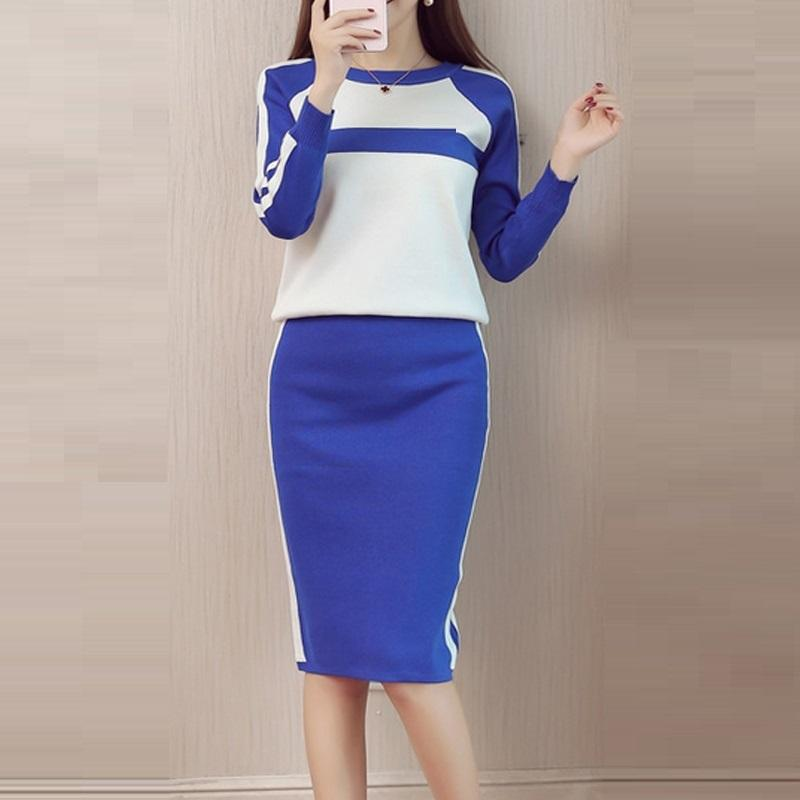 bcb6bd35cf6b 2019 2018 Autumn Winter Fashion Striped Knitted Skirt Suits Set Women  Casual Sweater Tops And Elegant Slim Skirts Suit From Purlove, $38.8 |  DHgate.Com