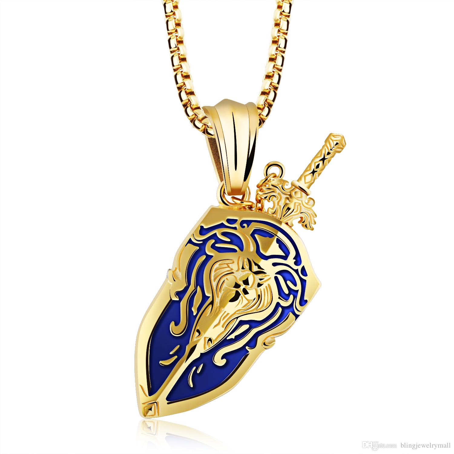 valentino in pendant lion image necklace best lyst metallic