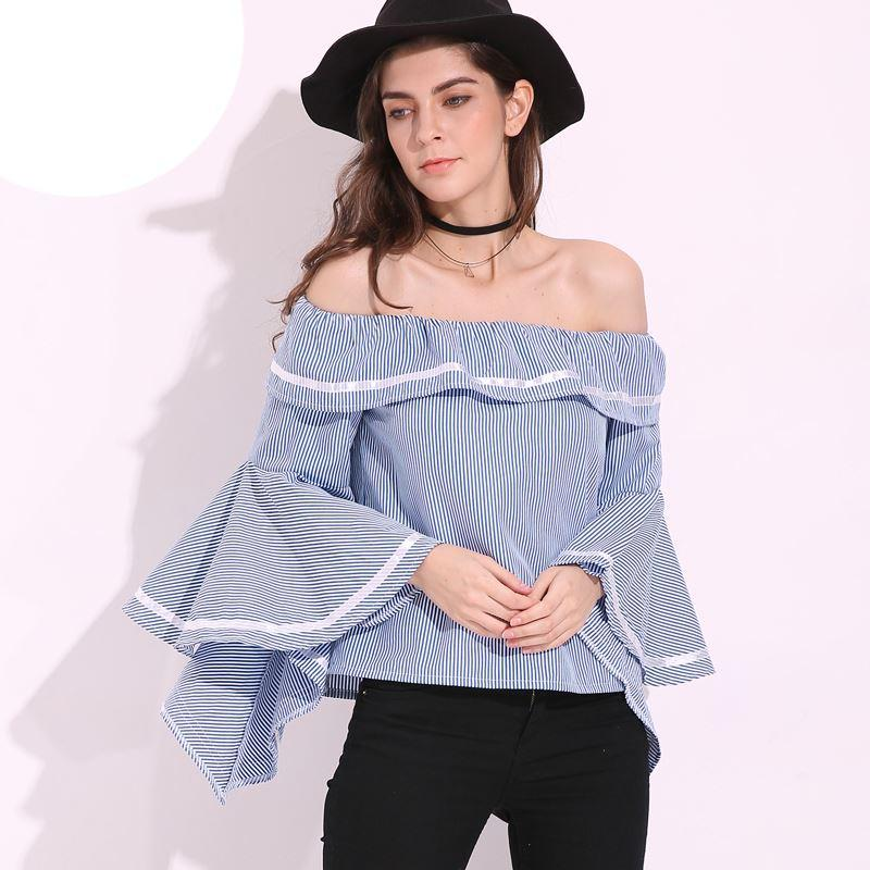 5c9ab057ed4 2019 2018 Hot Womens Slash Neck Butterfly Sleeve Club Tops Flouncing  Ruffled Off Shoulder Casual Party Shirt Blouse S 5XL From Lin_and_zhang, ...