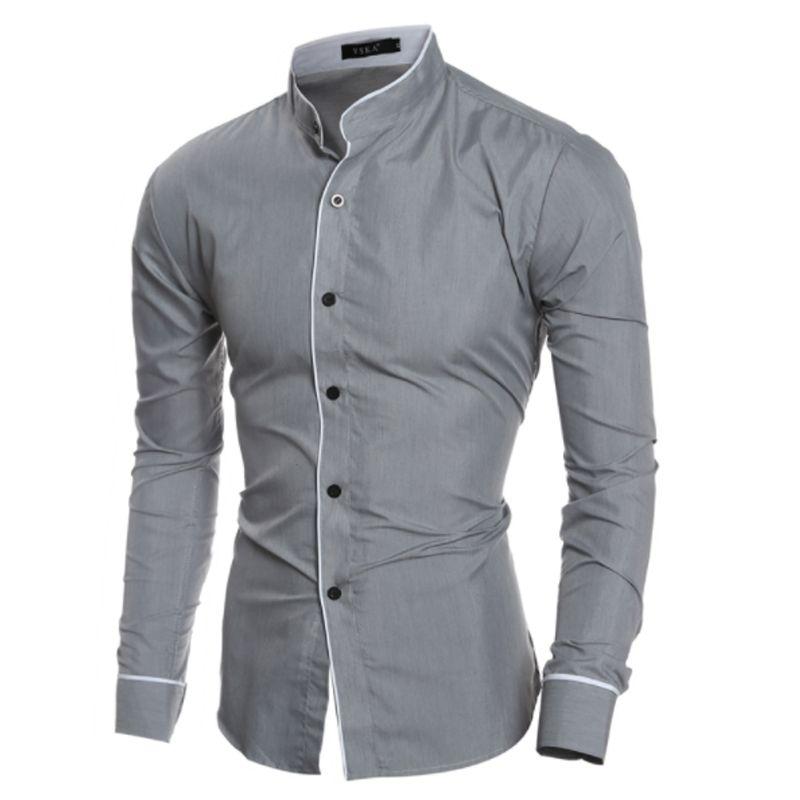 Manches New Men Solide Longues Xxl Chemise Marque Slim 2018 Fashion Casual Vêtements S Homme Business À Couleur SzVpqUMG