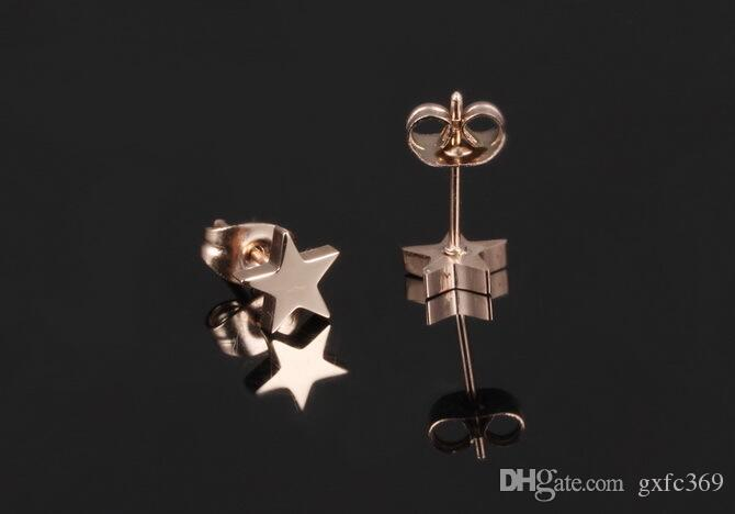 Five-pointed star female models earrings temperament sweet simple wind Korean version of the earrings titanium steel rose gold ear nail