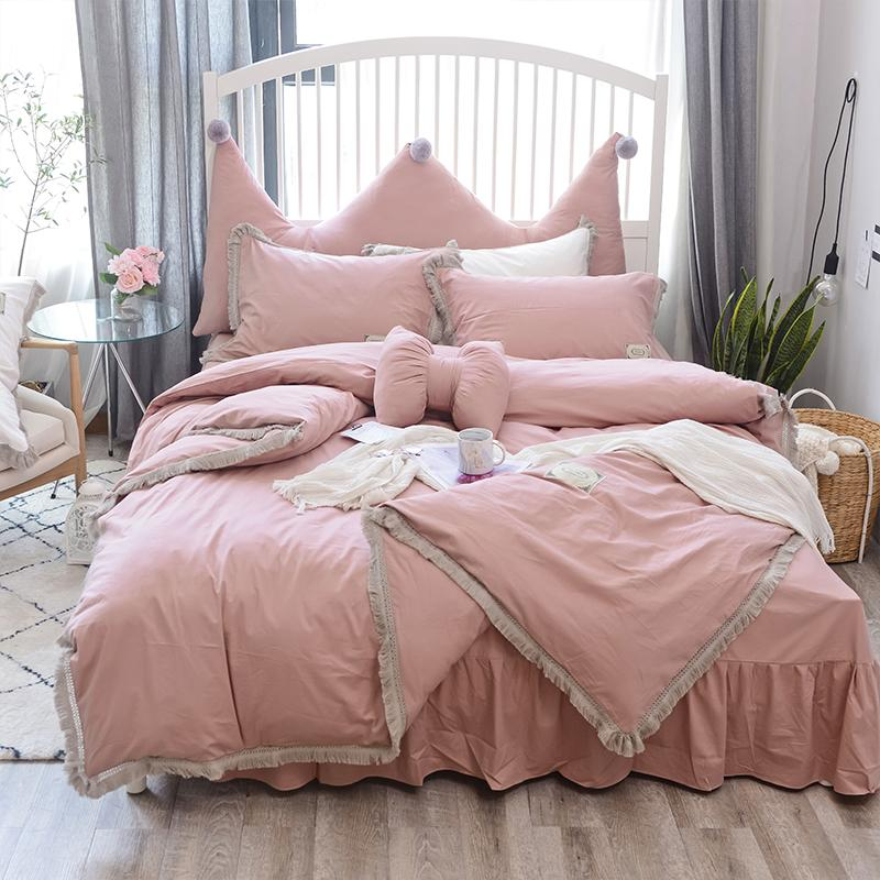 100%Coon Pink White Bedsheet Set Twin Queen size Bedding Set for Kids Girls  Bedroom Duvet cover Bed sheet Bed cover