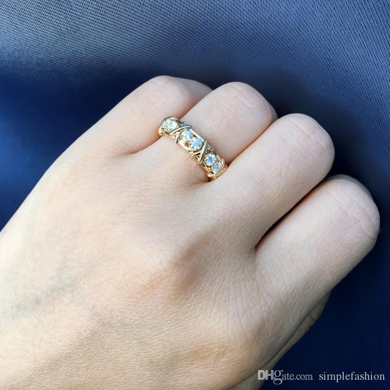 Vecalon infinity Lovers Anneau 5A Zircon Cz Anneaux De Mariage pour Femmes Hommes Or Jaune Rempli De Mariage Bande De Fiançailles Bande Cadeau