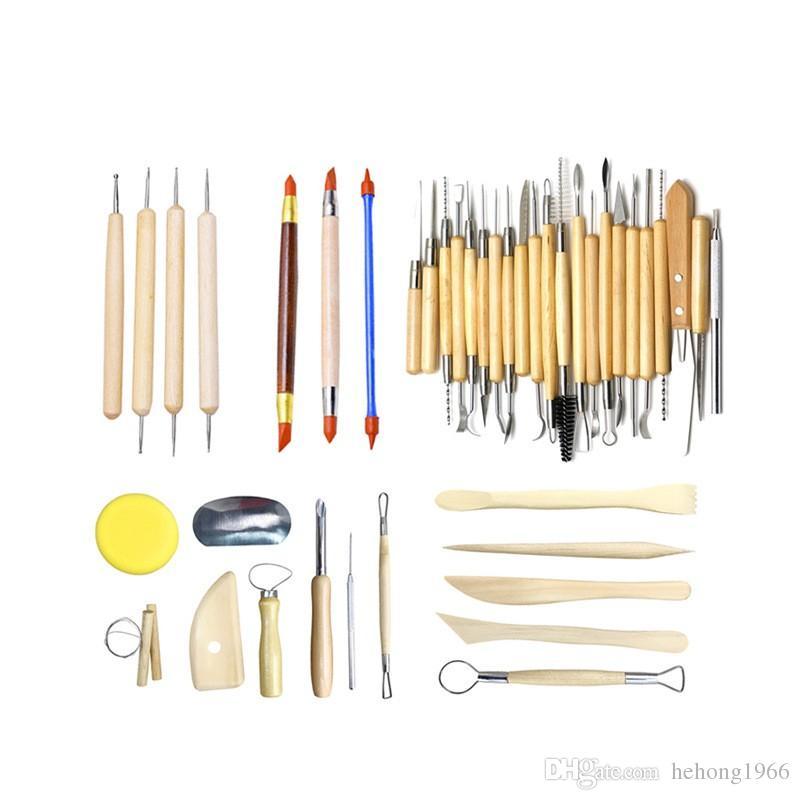 Ensemble d'outils de sculpture en argile Kit de sculpture Sculpt Cire de lissage Sculpture Poterie Céramique Outils Modélisation Manche en Bois Sculpté Ensemble 55bm Y