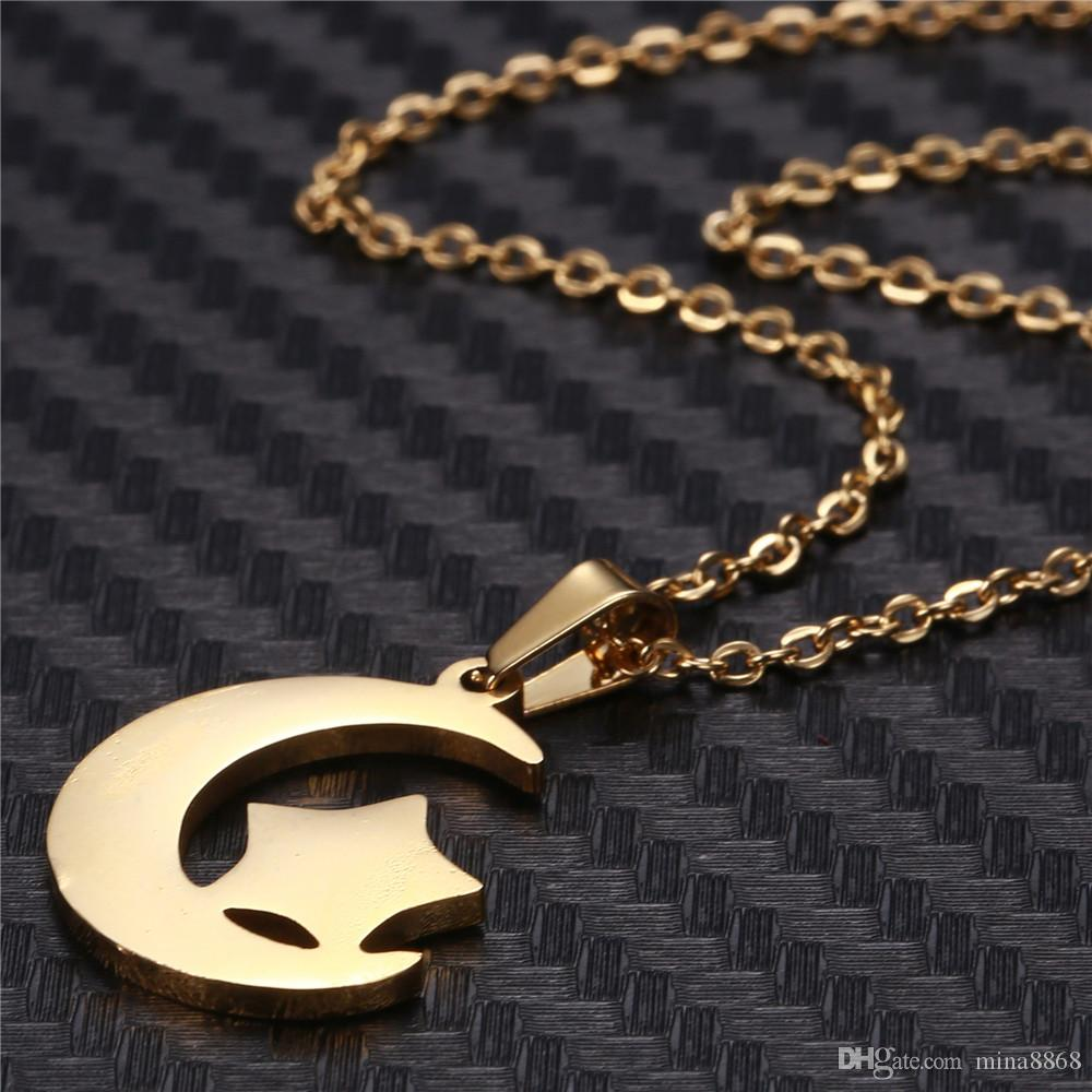 stainless steel Moon Star Chain Necklace Fashion jewelry silver/gold color long pendant simple necklace for women girl bijoux gift