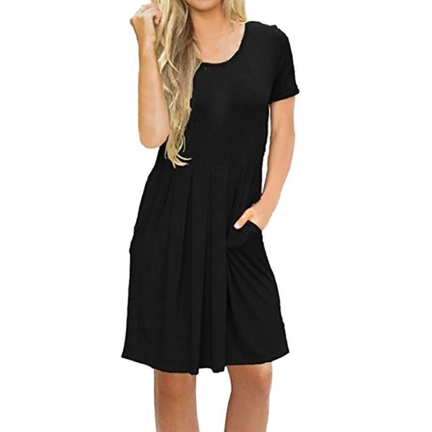 82dfa31ba8 Fashion Womens Solid O Neck Short Sleeve Pocket Casual Swing Loose Dress  Ladies Pure Color Knee Length Dresses Vestidos Verano Summer White Maxi  Dress ...