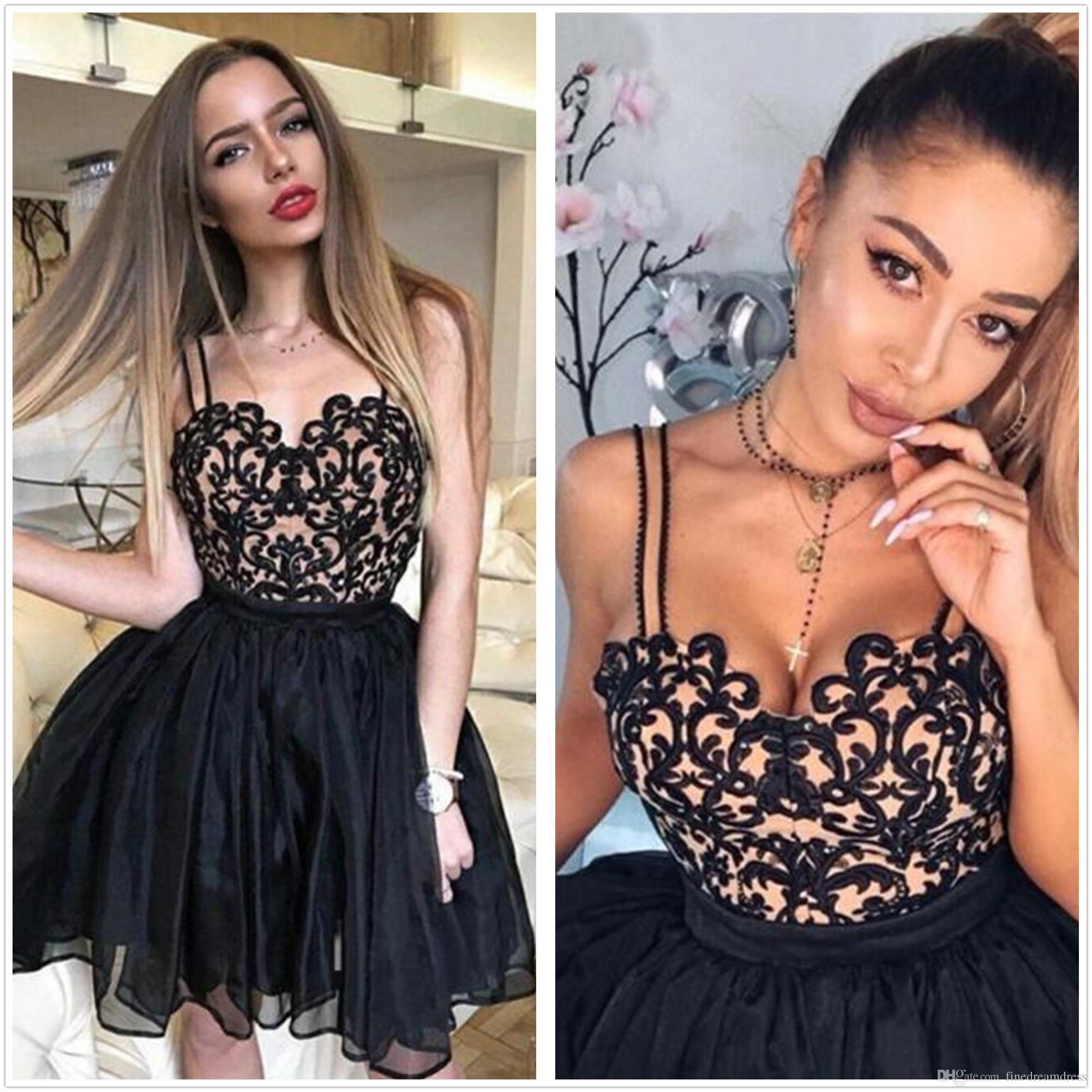 7df4bcbdf8a 2018 Little Black Spaghetti Straps Organza A Line Homecoming Dresses ...