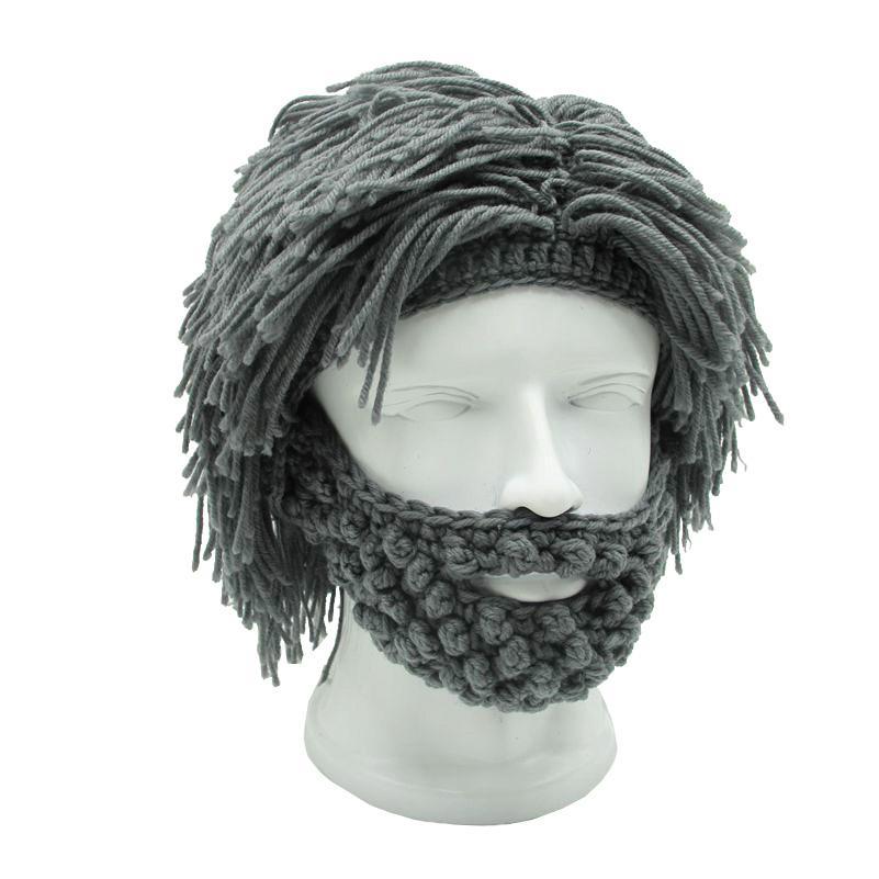 Erwachsene Häkeln Perücke Mütze Mit Bart Wilden Mann Kreative Gestrickte Haare Hut Für Cosplay Partei Handgemachte Winter Warme Mütze