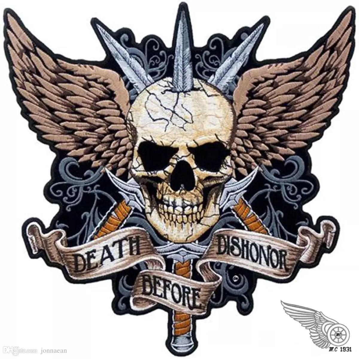 Sword Skull DEATH BEFORE DISHONOR Punk Motorcycle Biker Club MC Back Jacket Motorcycle Racing Embroidered Patches Free Shipping