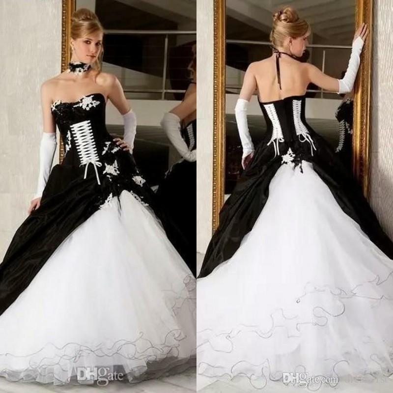 compre vestidos de novia góticos de blanco y negro de otoño 2018
