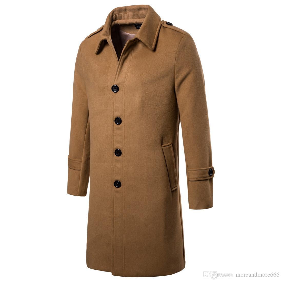 c8a62cdc63ffc Men Wool Coats 2018 New Long Blends Winter Warm Outdoor Wear Lapel ...