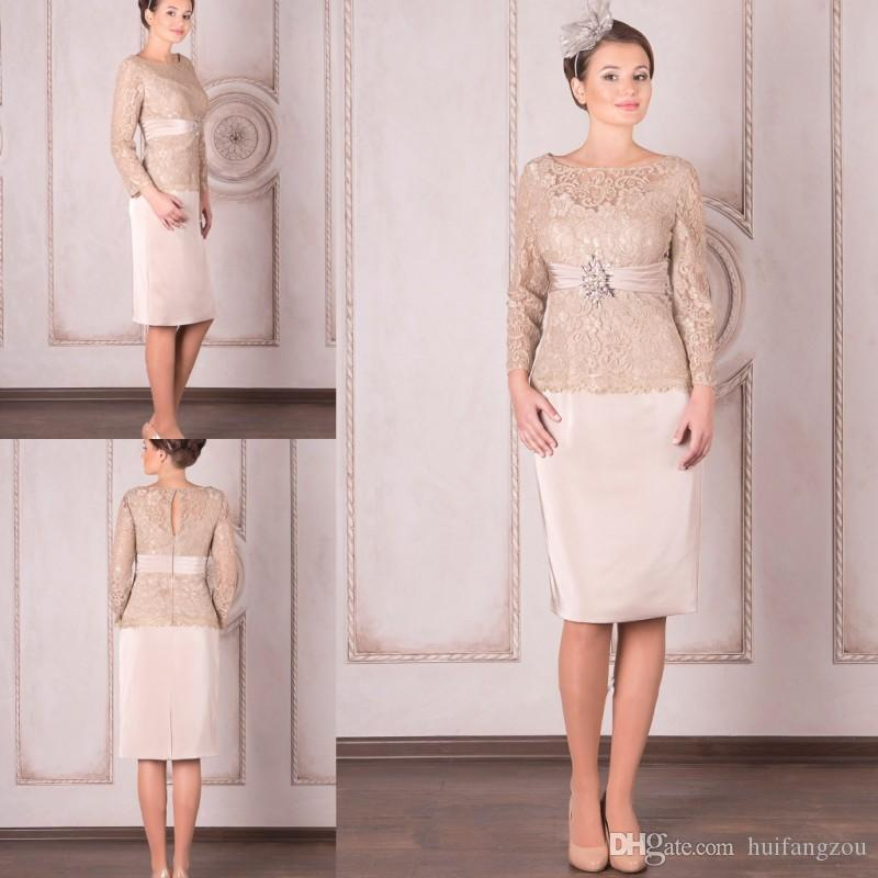 7df8fbef369d1 2019 Modest Mother of the Bride Dresses Spring Lace Long Sleeves Sheath  Mothers' Formal Dresses With Crystal Belt Knee Length Prom Dresses