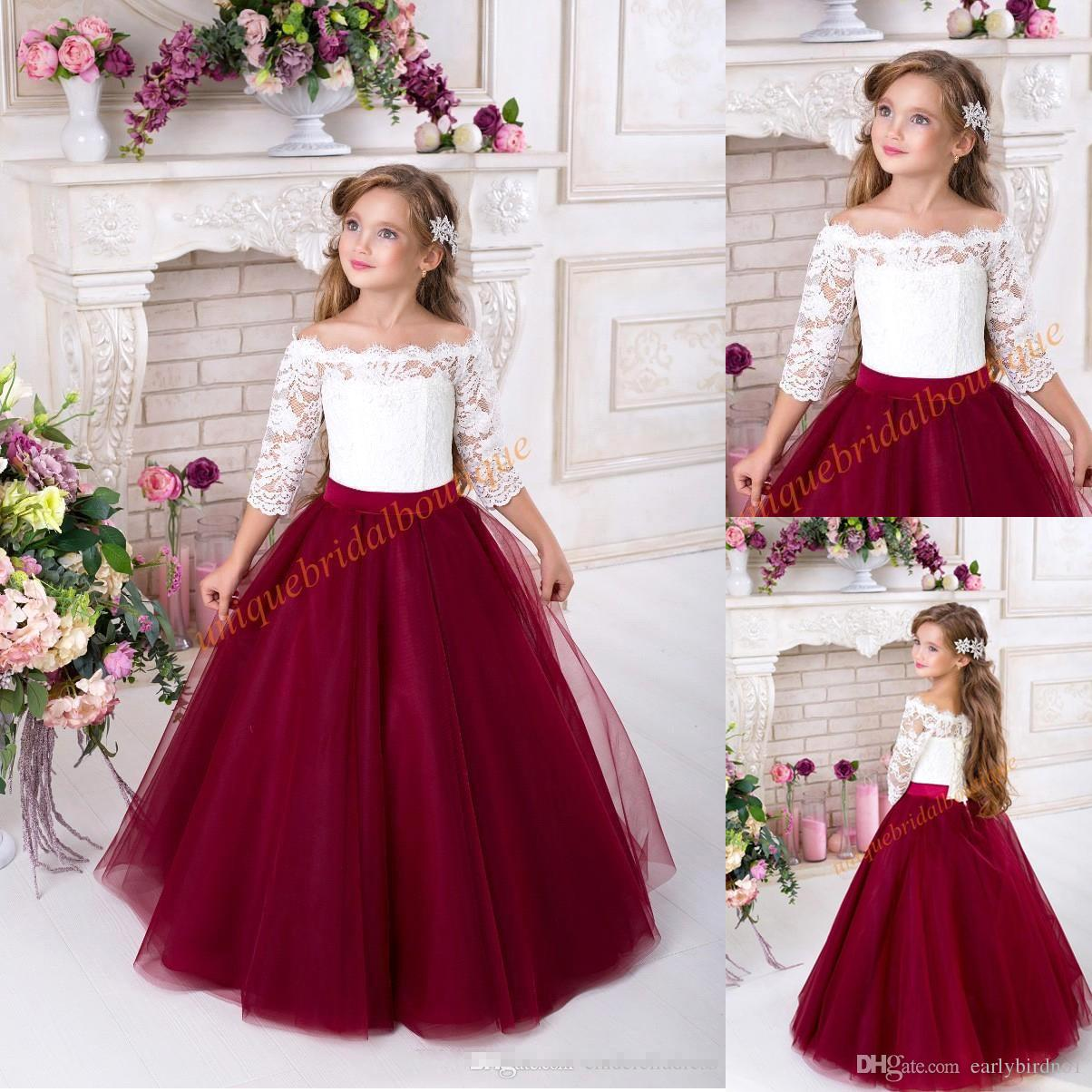 f4ad517a9dc1 Custom Made Off The Shoulder Flower Girls  Dresses With Half Sleeves White  Lace Burgundy Tulle A Line Princess Birthday Party Dress BC0168 Wedding  Dresses ...