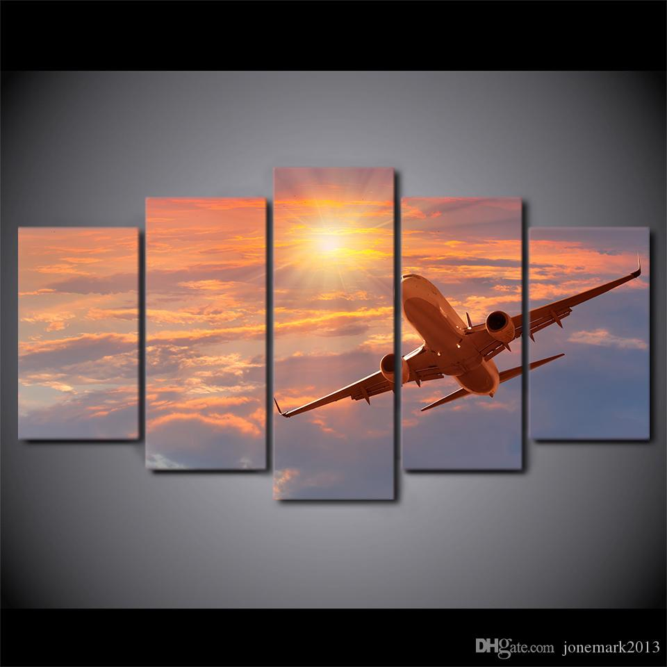 HD Printed Canvas Art Painting Sunset Airplane Poster Sunset Cloud Wall Pictures For Living Room CU-2781C