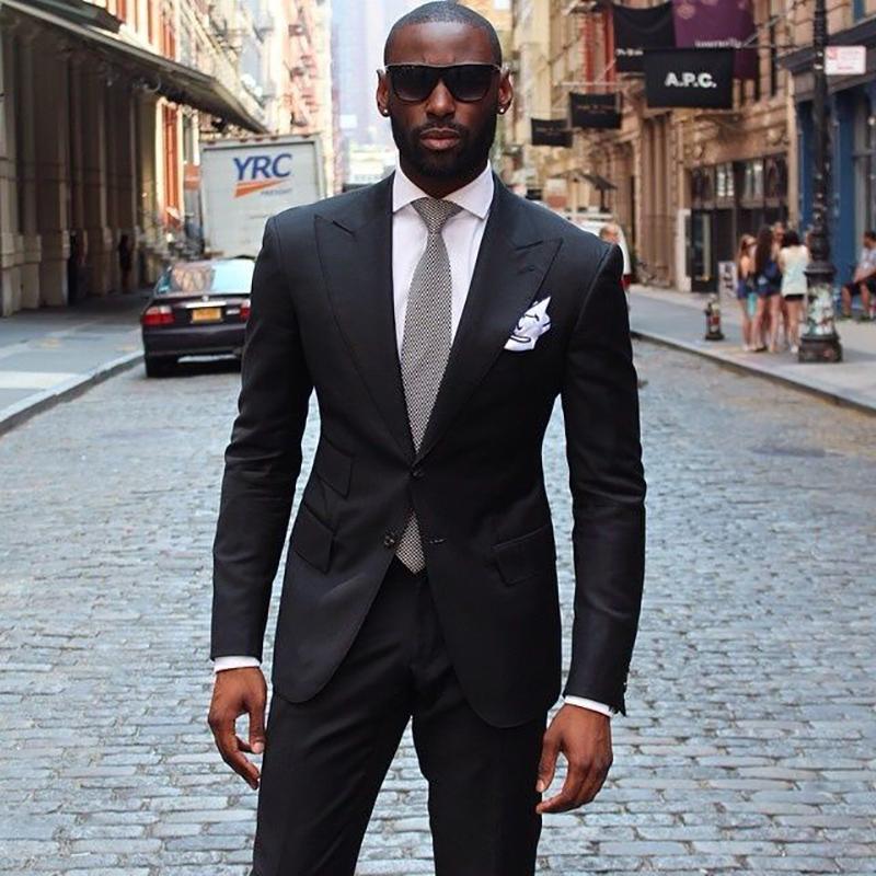 Compre 2018 Hombres Negros Trajes Enarboló La Solapa Chaqueta De Hombre  Traje Casual Elegante Para La Boda De Negocios Calle Slim Fit Masculinos  Tuxedos ... b4bb8241d76