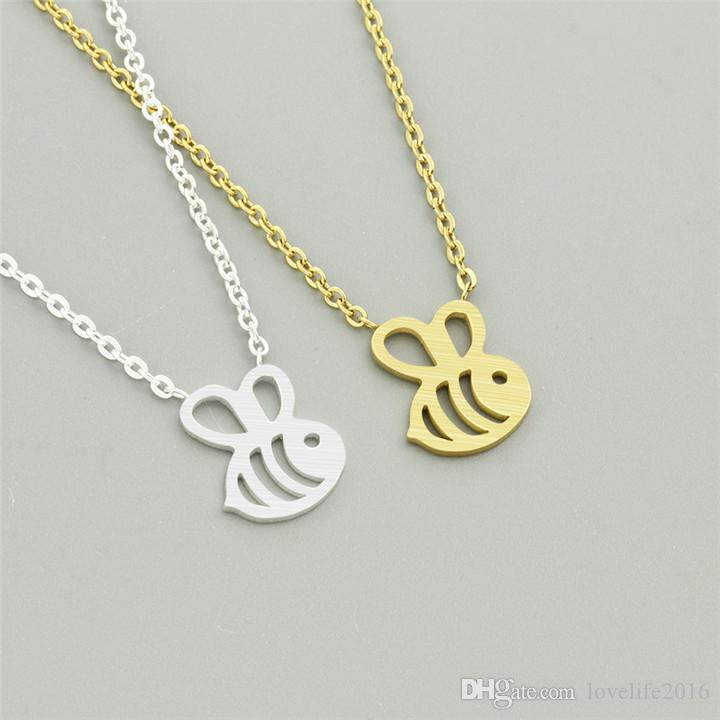 European Fashion Little Bee Pendant Necklace Gold & Silver Plated Women Girl Necklaces Fine Jewelry Valentine's Day Gift B005