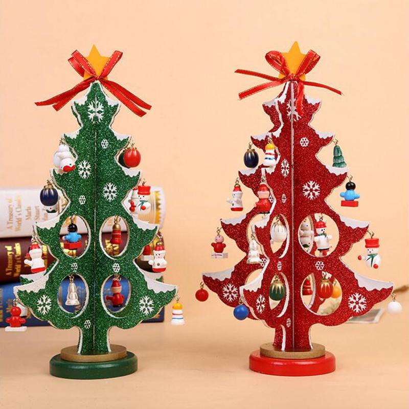 3d Diy Cartoon Wooden Christmas Tree Decoration Xmas Gift Ornament Table Desk Decoration Snowflakhome Party