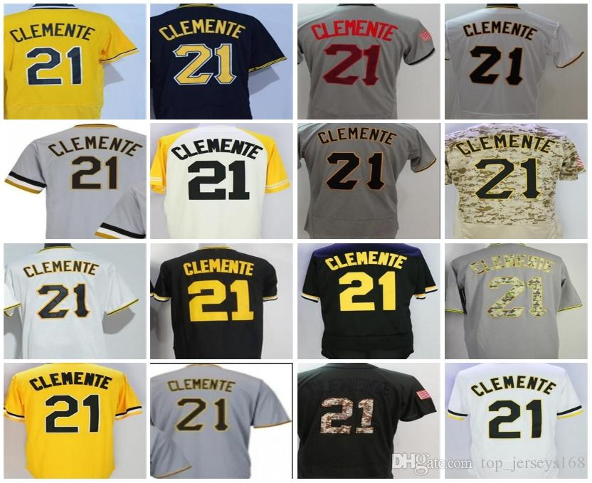 the latest 4e81e 37068 Men Women Youth Pittsburgh Jerseys 21 Roberto Clemente White Grey Black  Yellow Camo Beige Cheap Cool Flex Base Adults Lady Baseball Jerseys