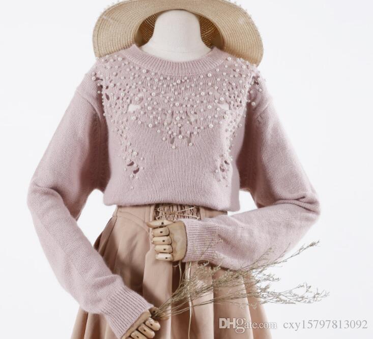 Compre 2018 Japonés Han Otoño Invierno Suéter Cabeza De La Mujer Dulce  Temperamento Dulce Pelo De Conejo Artesanal Pesado Con Cuentas Suéter  Mujeres A  39.2 ... ff303622b8f2