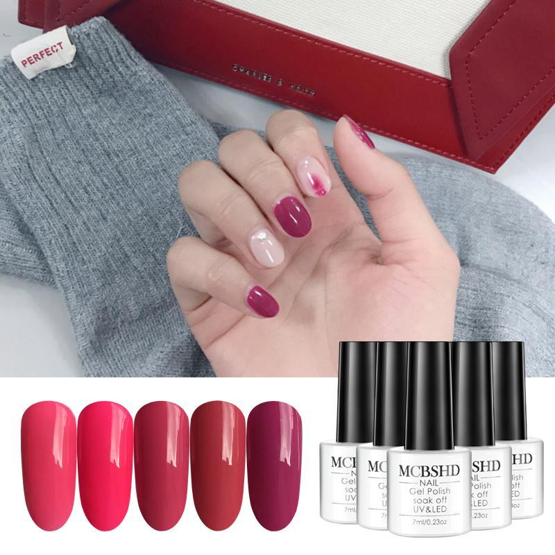 Mcbshd Gel Nail Polish Varnishes Rose Red Pure Color Permanant ...