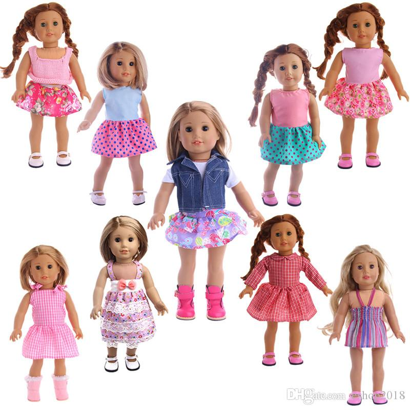 Cute 9 Styles 18 Inches American Girl Doll Baby Doll Clothes